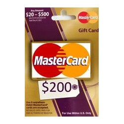 گیفت کارت مستر کارت 200 دلاری امریکا