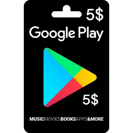 گیفت کارت گوگل پلی 5 دلاری آمریکا