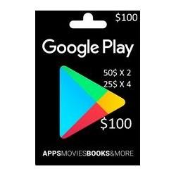 گیفت کارت گوگل پلی 100 دلاری (2X 50$ 4X 25$)